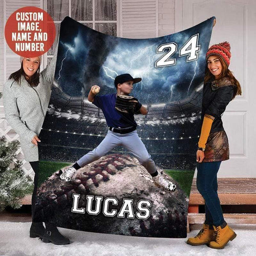 Custom Blankets Baseball - Storm With Photo