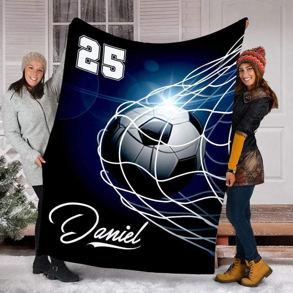 Custom Blankets Soccer - Ball Through Net