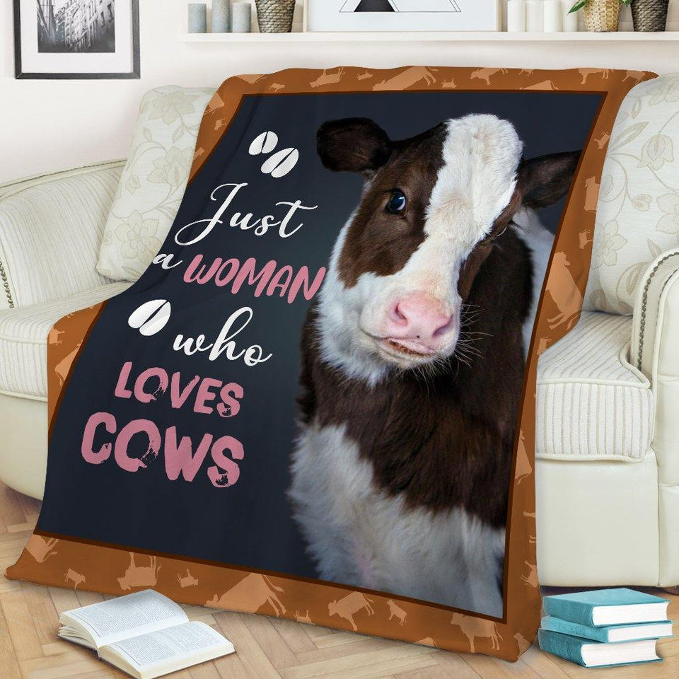 Cow Just A Woman Who Loves Cows Blanket - Family Presents - Great Blanket, Canvas, Clothe, Gifts For Family