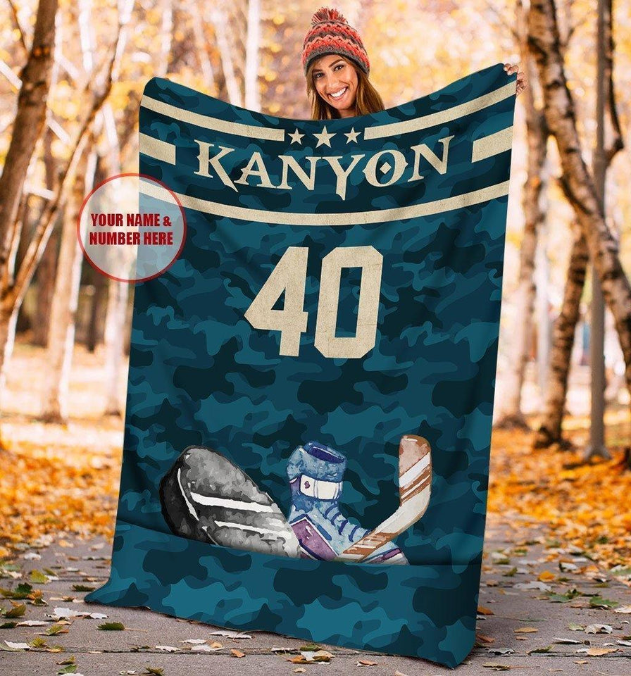 Custom Hockey Camouflage Pocket Blanket - Family Presents - Great Blanket, Canvas, Clothe, Gifts For Family