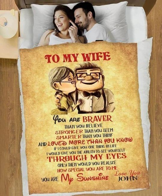Personalized Custom Wife Blanket - To My Gorgeous Wife You Are Braver Than You Believe Stronger Than You Seem Fleece Blanket - Valentine Gift For Her/Wife