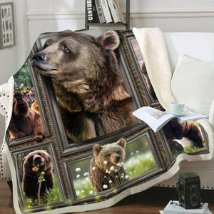 3D Huge Brown Bear Blanket