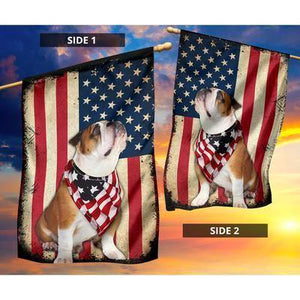 Bulldog Celebrate Fourth Of July Independent Day Garden Flag, House Flag