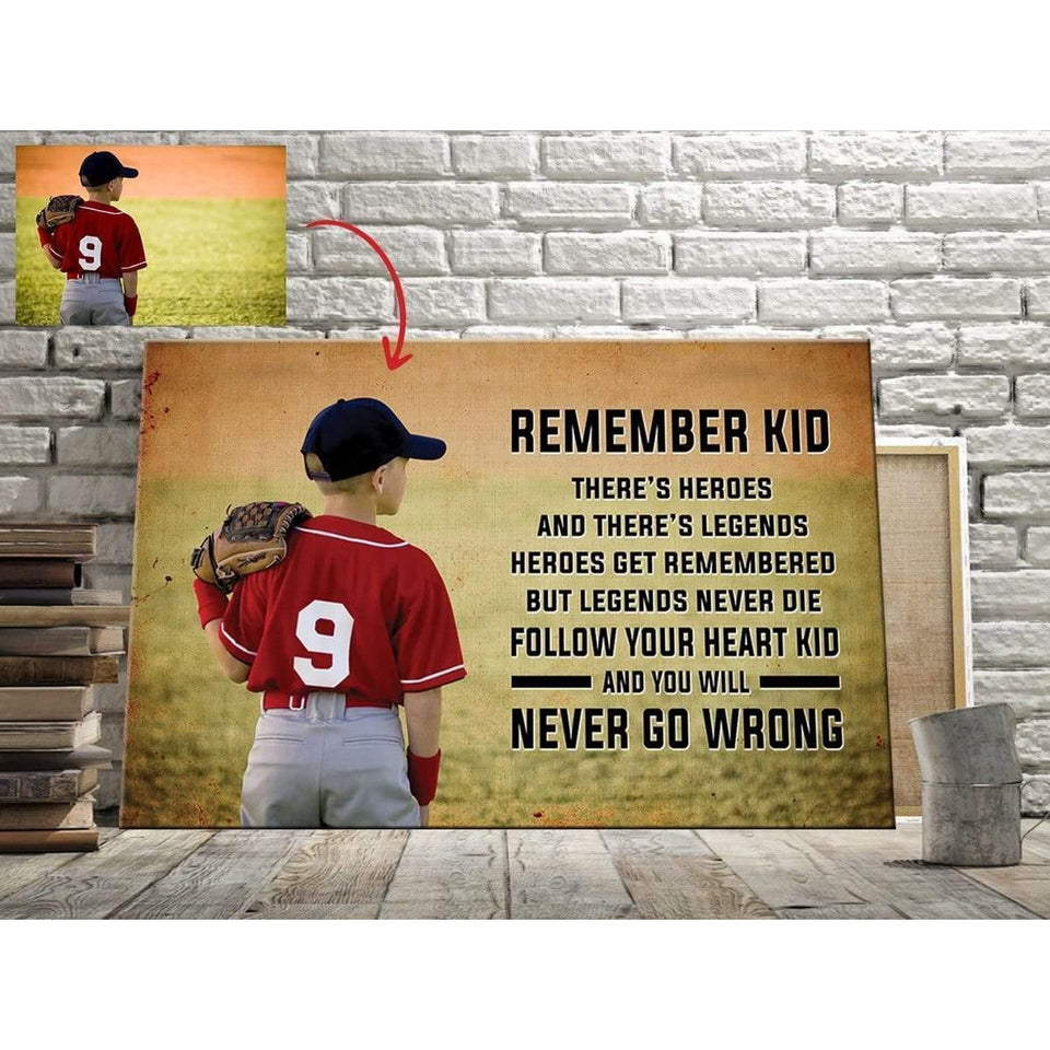 Baseball custom canvas prints - Remember Kid With Photo #031019L
