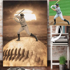 Baseball Sunset Custom canvas prints With Photo