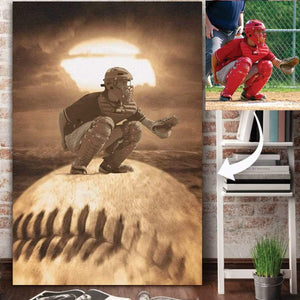 Baseball custom canvas prints Sunset Canvas With Photo #021019H