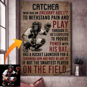 Baseball Catcher custom canvas prints with photo #3009H