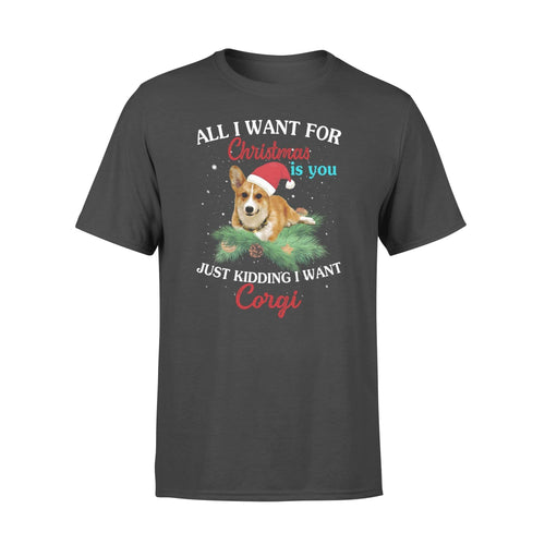 All I want for Christmas is you just kidding I want corgi - Standard T-shirt - Family Presents
