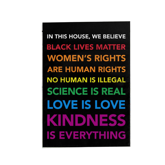 In This House We Believe Black Lives Matter Garden House Double Sided Flag Home Yard Grass Outdoor Polyester Banner UV-Resist BLM LGBT - Garden flag