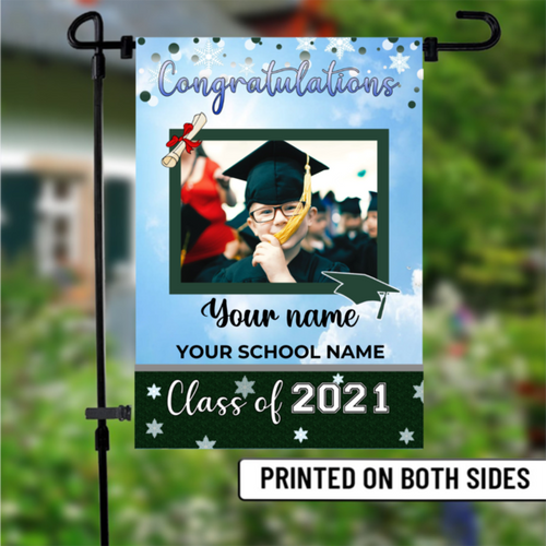 Personalized image and name, Class of 2021 Senior Graduation Garden Flag, Class of 2021 Garden Flag, Congratulations Garden Flag - Family Presents - Great Blanket, Canvas, Clothe, Gifts For Family
