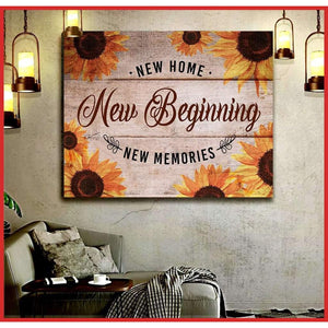 Canvas Wall Art - New Home New Beginning New Memories Matte Canvas - Family Presents
