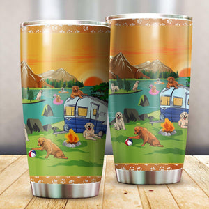 Golden Retriever Camping Stainless Steel Insulated Tumbler Cups