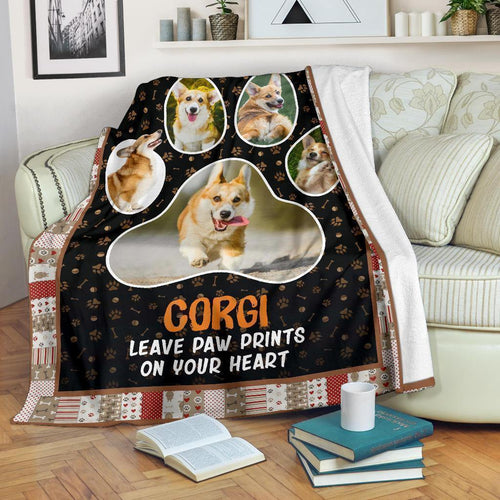 Corgi Leave Paw Prints On Your Heart Fleece Blanket Funny Gift - Family Presents - Great Blanket, Canvas, Clothe, Gifts For Family