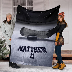Hockey Custom Blanket Puck and Stick on ice - Family Presents - Great Blanket, Canvas, Clothe, Gifts For Family