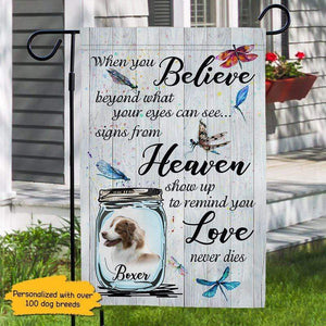 Love Never Dies Personalized Dog Memorial Decorative Garden Flags