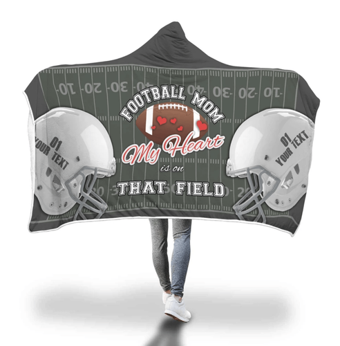 Custom Hooded Blanket Football Mom - Family Presents - Great Blanket, Canvas, Clothe, Gifts For Family