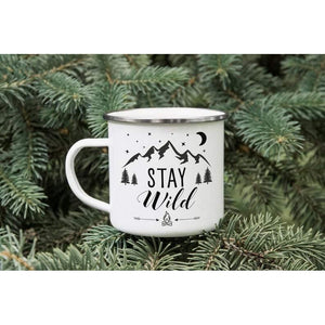 CUSTOM Camping Mug, Camp Mug Gift, Stay Wild Enamelware Mug, Hiking Mountains, Travel Mug, Personalised Campfire Mug, Outdoor Campers Mug - Family Presents - Great Blanket, Canvas, Clothe, Gifts For Family