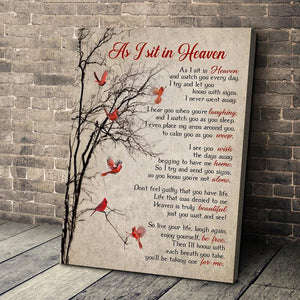 Cardinal As I Sit In Heaven Canvas Framed Poster Wall Hanging Home Room Decor Birthday Housewarming Wedding Gift