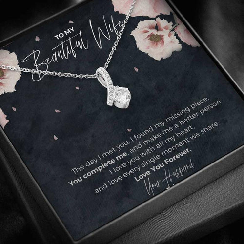 To My Beautiful Wife, Eternal Love Necklace | Anniversary Gift for Wife | Luxurious Necklace Gift for Wife | Wife Birthday, Christmas Gift