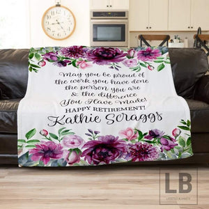 Personalized Retirement Gifts For Women, Custom Retirement Gifts For Women, Floral Watercolor Blanket, Mom Retirement Nurse, Teacher Gift - Family Presents - Great Blanket, Canvas, Clothe, Gifts For Family