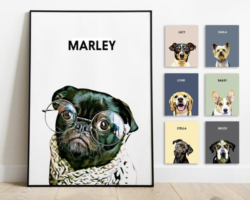 Pet Portrait Custom And Personalized. Pet Dog Wall Art Digital Download To Print On Poster Or Canvas For Gift
