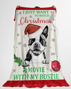 Personalized Watch Christmas Movies With My Pets| Fleece Sherpa Woven Blankets| Gifts For Dog Lovers| Gifts For Pet Lovers