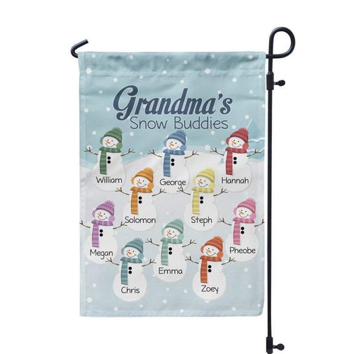 Mother's Day Gifts,   Grandmas Garden Flag - Winter Retro Garden Flag, Snowman Grandkids, Grandmother Yard Sign Personalized Name Garden Flag - Mothers Day Gift - Family Presents - Great Blanket, Canvas, Clothe, Gifts For Family