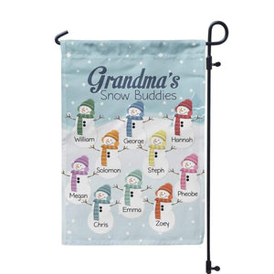 Grandmas Garden Flag - Winter Retro Garden Flag, Snowman Grandkids, Grandmother Yard Sign Personalized Name Garden Flag - Mothers Day Gift