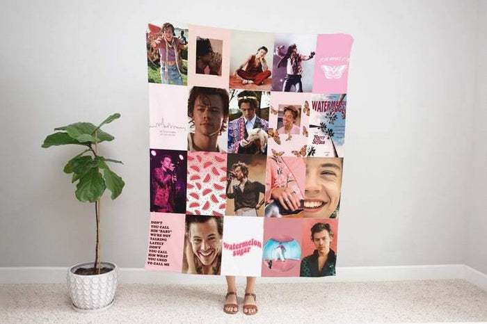 Customizable Harry Styles Poster Style Fleece Blanket, Harry Styles Gifts for Her Sherpa Blanket, One Direction Blanket, Harry Styles Merch