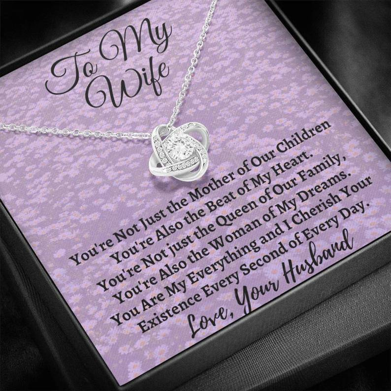 Wife Necklace From Husband Custom Jewelry Gift Ideas for Valentine's Day, Birthday Christmas Anniversary Mothers Day, Message Card, Gold 14K