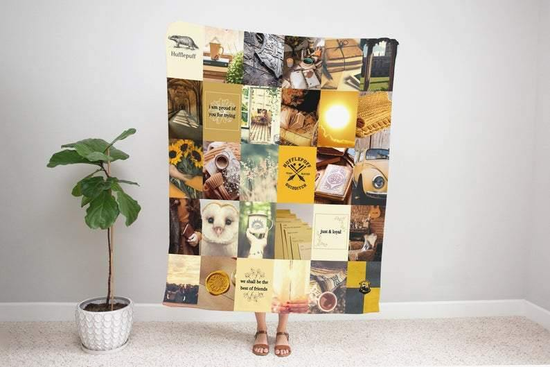Harry Potter Hufflepuff Blanket, Hufflepuff Sherpa Blanket, Gifts for Harry Potter Fan, Personalized Gifts, Gift for Him/Gift For Her - Family Presents - Great Blanket, Canvas, Clothe, Gifts For Family
