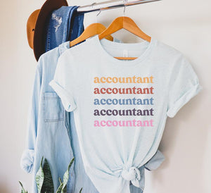 Retro Unisex Accountant T-Shirt, CPA Account Grad Gift Accounting Funny Spreadsheet Accountant Consultant Data Analyst Shirts Tax Season
