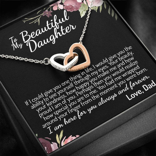 To My Daughter (From Dad) Interlocking Hearts Necklace, Father to Daughter Gift, Birthday Gift To Daughter From Dad, Daughter Necklace