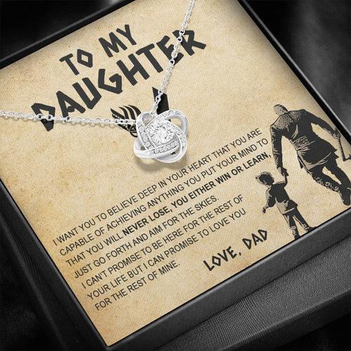 To My Daughter, Gift For Daughter From Dad, Daughter Necklace, Viking Style Love Knot Necklace