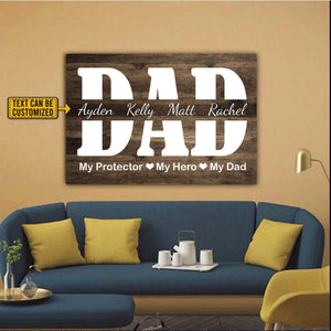 Personalized My Protector My Hero My Dad Wrapped 0.75 & 1.5 In Framed Canvas- Father's Day Gift Idea,Home Decor, Wall Art