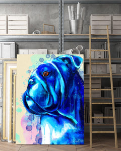 Bulldog Matte Canvas Print, Canvas Wall Art for Living Room, Bathroom Wall Decor, WATER BLUE COLOR TH