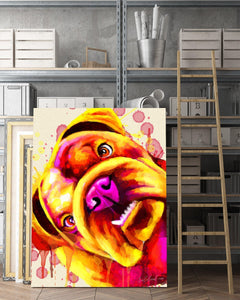 Bulldog Matte Canvas Print, Canvas Wall Art for Living Room, Bathroom Wall Decor, Water Color TH