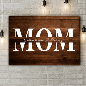 Personalized Mother's Day Wall Art Mom Names Wood-Inspired Premium Canvas
