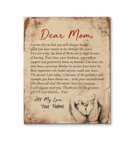 Personalized Canvas Print Dear Mom All My Love Canvas Mothers Day Birthday Gift For Mom