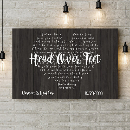 Personalized Couple Canvas - First Dance Lyrics On Canvas Wedding Gift, Wedding Song On Canvas, Heart Shaped Personalized Couples Gift, Anniversary Gifts, Custom Gift