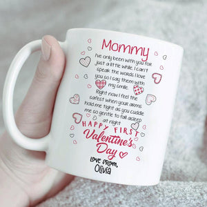 Personalized Mother's Day Mug, From Husband - Happy First Valentines Day Ceramic Mug