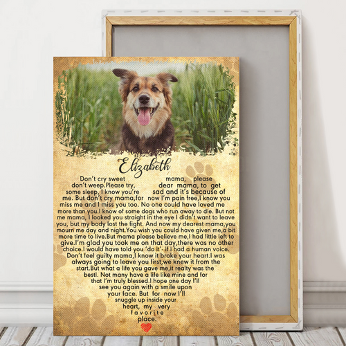 Personalized Animal Canvas- Don't cry sweet mama - Personalized Canvas Wall art - Dog Canvas