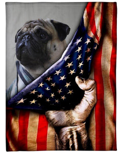 Pug Blanket, Pug Dog Behind In The Flag Fleece Blanket