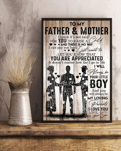 Father Mother Canvas - To My Father & Mother I Know It's Not Easy For You To Raise A Child Canvas - Family Presents
