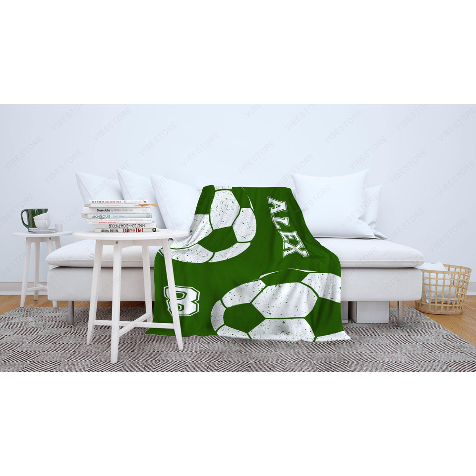 Custom Green Soccer Fleece Blanket