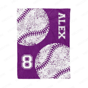 Personalized Purple Baseball Fleece Blanket