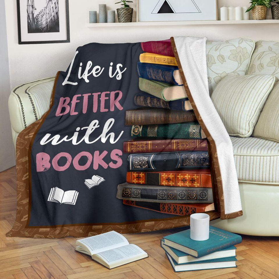 Book Lovers Blanket - Life Is Better With Books Fleece Blanket - Family Presents