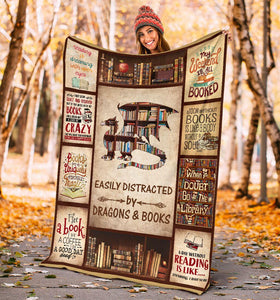 Book Lovers Blanket - Easily Distracted By Dragons & Books Fleece Blanket - Family Presents