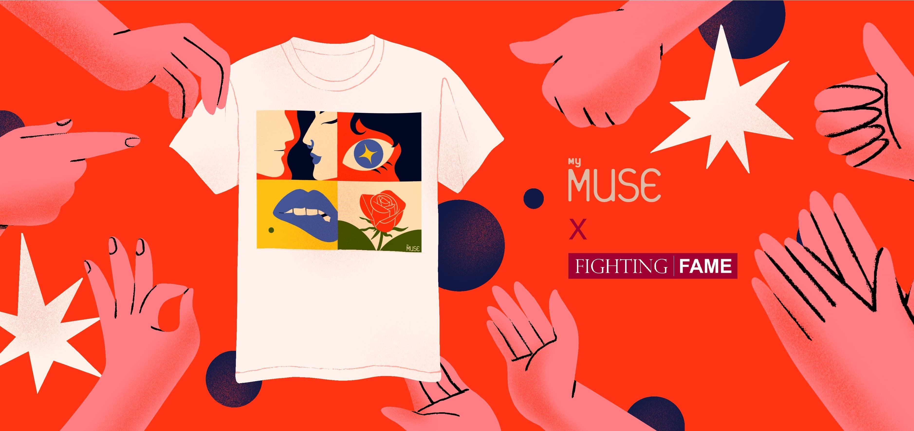 Strangers in the night t-shirt by MyMuse surrounded by hand illustrations celebrating the design