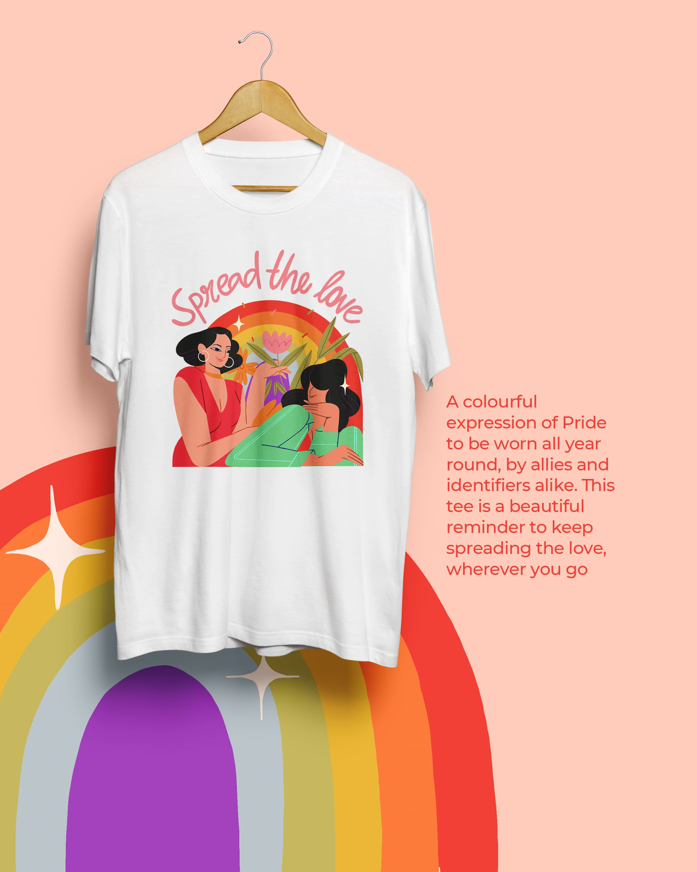 The Spread the Love t-shirt design by MyMuse x Fighting Fame in the background with an illustration of the design in the foreground